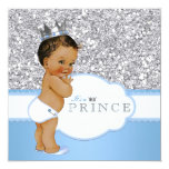 Ethnic Prince Baby Shower Blue and Silver 5.25x5.25 Square Paper Invitation Card