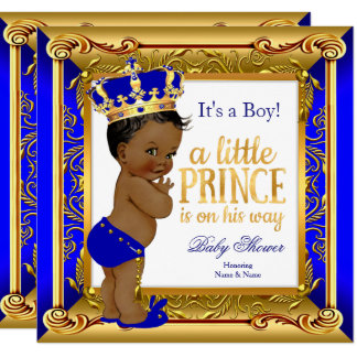 Ethnic Prince Baby Shower Blue Faux Gold Card