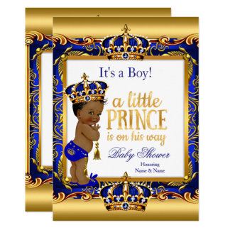 Ethnic Prince Baby Shower Blue Ornate Gold Card