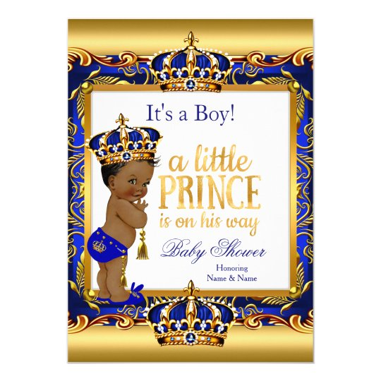 ethnic prince baby shower blue ornate gold card   zazzle, Baby shower invitations