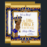 "Ethnic Prince Baby Shower Blue Ornate Gold Invitation<br><div class=""desc"">Little Prince Boy Baby Shower,  Royal blue and Damask Faux Ornate Gold for a baby boy. A Little Prince Is on His Way. Gold Crown. With a gold trim. Pretty vintage cute couples baby shower. Ethnic African American Baby Shower. Faux Gold Foil Baby Shower</div>"
