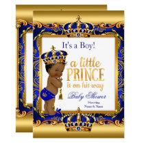 Ethnic Prince Baby Shower Blue Ornate Gold Invitation