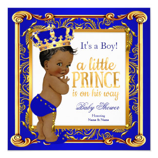 Ethnic Prince Baby Shower Damask Blue Gold Card