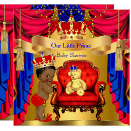 Ethnic Prince Baby Shower Gold Bear Red Blue Card