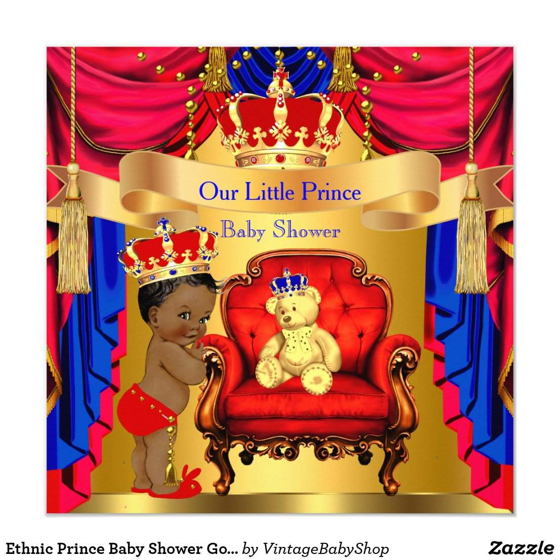 Ethnic Prince Baby Shower Gold Bear Red Blue