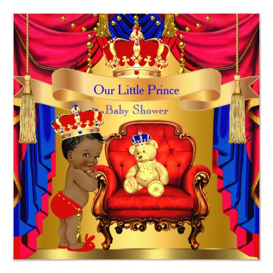 Ethnic Prince Baby Shower Gold Bear Red Blue Card Zazzle
