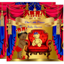 Ethnic Prince Baby Shower Gold Bear Red Blue Invitation