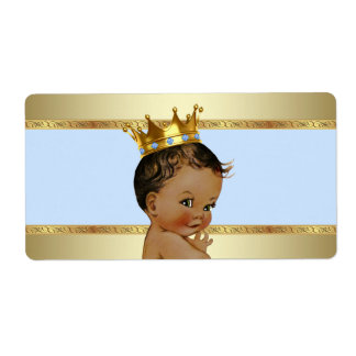 Ethnic Prince Boy Baby Shower Water Bottle Label