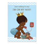 Ethnic Prince on Phone Baby Shower Chevrons Blue Card