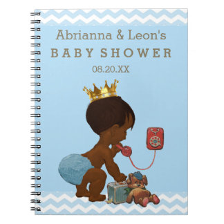 Ethnic Prince on Phone Baby Shower Guest Book