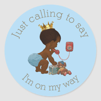 Ethnic Prince on Phone Blue Gray Baby Shower Classic Round Sticker