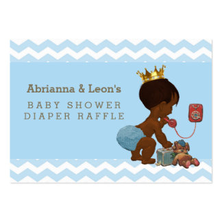 Ethnic Prince on Phone Chevrons Diaper Raffle Large Business Card