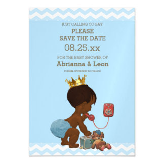 Lovely Ethnic Prince On Phone Save The Date Gray Blue Magnetic Card