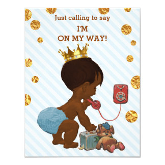Ethnic Prince On Phone Stripes Dots Baby Shower Card