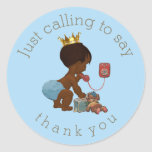 Ethnic Prince on Phone Thank You Baby Shower Classic Round Sticker