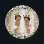 "Ethnic Prince Princess Baby Shower Paper Plate<br><div class=""desc"">Ethnic baby shower paper plates with cute ethnic prince and princess babies wearing pretty gold crowns on a beautiful ivory and gold background. You can add text to personalize and you can move the babies.</div>"