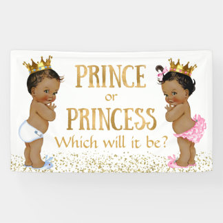 Ethnic Prince Princess Gender Reveal Baby Shower Banner