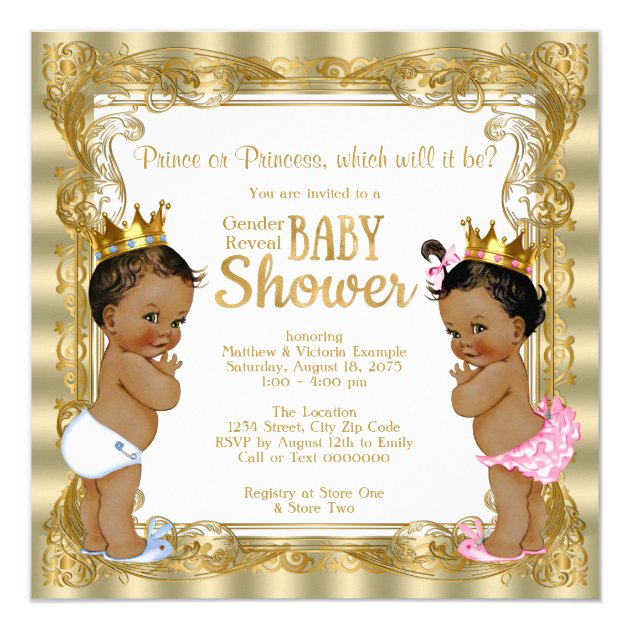 Ethnic Prince Princess Gender Reveal Baby Shower Card | Zazzle