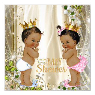 Ethnic Prince Princess Gender Reveal Baby Shower Card at Zazzle