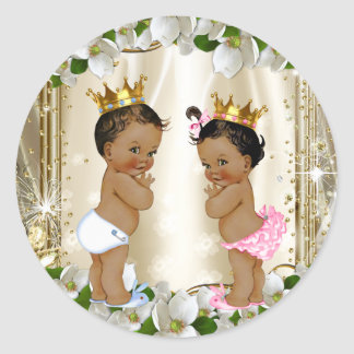 Ethnic Prince Princess Gender Reveal Baby Shower Classic Round Sticker