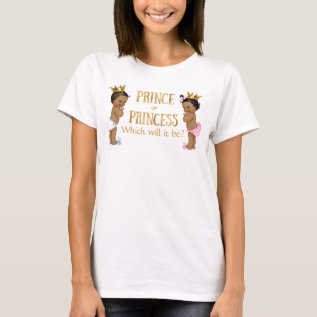 Ethnic Prince Princess Gender Reveal T-shirt at Zazzle