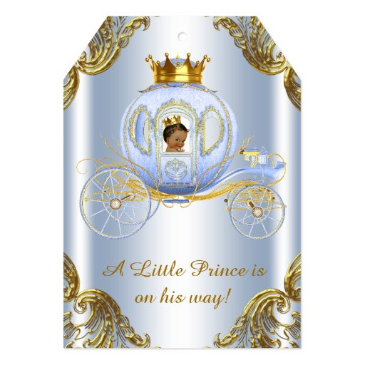 ethnic prince royal carriage prince baby shower 5x7 paper invitation