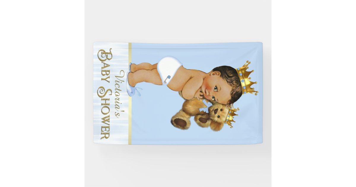 Ethnic prince teddy bear baby shower banner zazzle for Belly button bears wall mural
