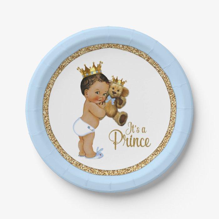 Ethnic Prince Teddy Bear Boy Baby Shower Paper Plate Zazzle