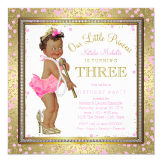Ethnic Princess 3rd Birthday Party Card