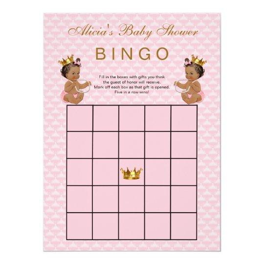 Ethnic Princess Baby Shower Bingo Card Zazzle