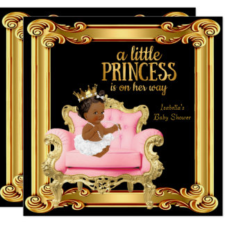 Ethnic Princess Baby Shower Black Pink Gold Chair Card