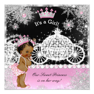 Ethnic Princess Baby Shower Carriage Pink Black Card