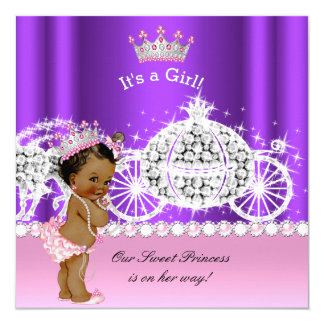 Ethnic Princess Baby Shower Carriage Pink Purple Card