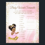 """Ethnic Princess Baby Shower Games Flyer<br><div class=""""desc"""">Ethnic princess baby shower games with baby word scramble on one side, and nursery rhyme quiz on the other. You can choose the size and paper style and you can add your own words and rhymes. Here are the answers to the games: Word Scramble Answers: 1. Bassinet 2. Diaper 3....</div>"""
