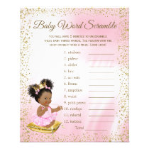 Ethnic Princess Baby Shower Games Flyer