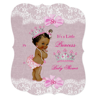 Ethnic Princess Baby Shower Girl Pink Burlap Lace Card