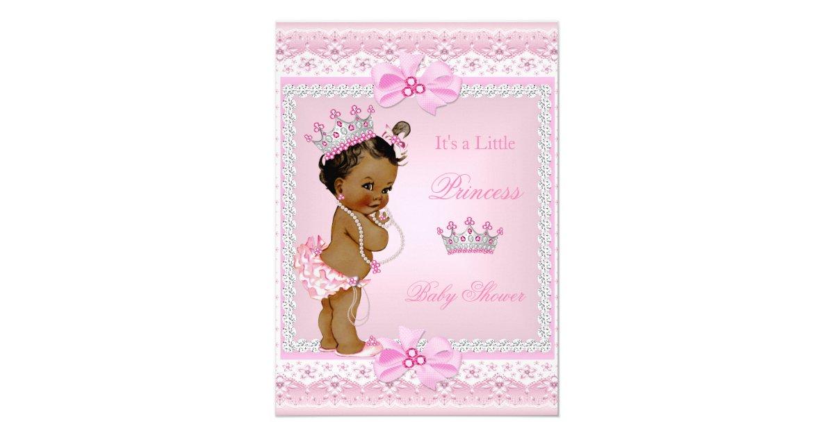 Ethnic Princess Baby Shower Girl Pink Pearls Tiara 5x7