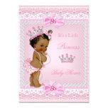 Ethnic Princess Baby Shower Girl Pink Pearls Tiara 5x7 Paper Invitation Card
