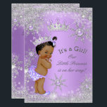 """Ethnic Princess Baby Shower Lavender Wonderland Card<br><div class=""""desc"""">Princess Girl Baby Shower Winter Wonderland, with Gray Silver Snowflakes, Lilac Lavender and Purple. White pearls jewels, Lace and Silver Tiara for a baby girl. Gray silver. Pretty and adorable new baby, Stylish Modern Baby Shower, vintage, couples baby shower. Cute Sprinkle Baby Shower. Ethnic African American Baby Shower. Please note:...</div>"""