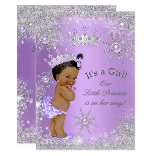 Ethnic Princess Baby Shower Lavender Wonderland Card at Zazzle