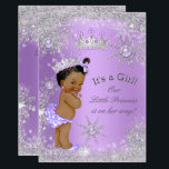 "Ethnic Princess Baby Shower Lavender Wonderland Invitation<br><div class=""desc"">Princess Girl Baby Shower Winter Wonderland, with Gray Silver Snowflakes, Lilac Lavender and Purple. White pearls jewels, Lace and Silver Tiara for a baby girl. Gray silver. Pretty and adorable new baby, Stylish Modern Baby Shower, vintage, couples baby shower. Cute Sprinkle Baby Shower. Ethnic African American Baby Shower. Please note:...</div>"