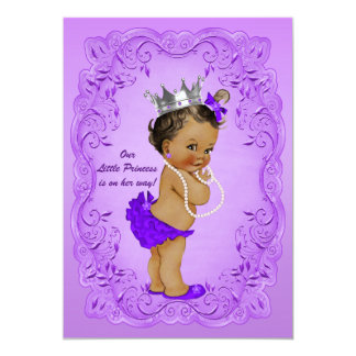 Ethnic Princess Baby Shower Ornate Purple Frame Card