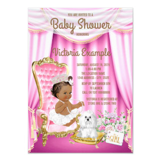 Ethnic Princess Baby Shower Pink Chair Invitation