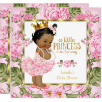 Ethnic Princess Baby Shower Pink Gold Rose Floral Card