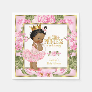 Ethnic Princess Baby Shower Pink Gold Rose Floral Paper Napkin