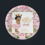 "Ethnic Princess Baby Shower Pink Gold Rose Floral Paper Plate<br><div class=""desc"">Ethnic Princess Baby Shower Pink Gold Rose Floral. Princess Girl Baby Shower Pink Gold Crown. Tutu Ballerina Girl Baby Shower. Ethnic African American Baby Shower. Dinner,  Snacks,  Cakes,  food</div>"