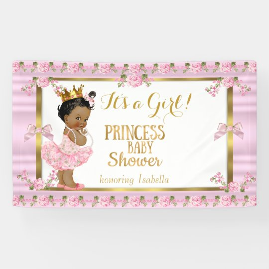 Good Ethnic Princess Baby Shower Pink Gold Tutu Banner