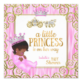 Ethnic Princess Baby Shower Pink Horse Carriage Card
