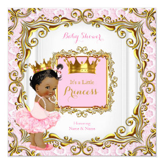 Ethnic Princess Baby Shower Pink Lace White Gold Card