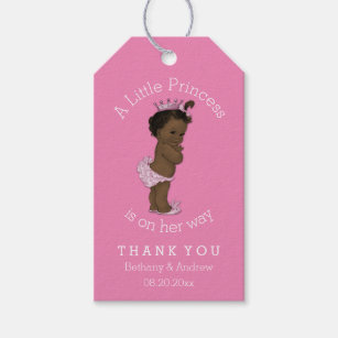 African american baby in diapers craft supplies zazzle ethnic princess baby shower pink personalized gift tags negle Choice Image
